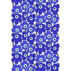 Marimekko's Pieni Unikko poppy fabric pattern divides the Unikko pattern into two sections with white in between. The popular Unikko pattern in blue has alternating dark and light blue petals with ligh