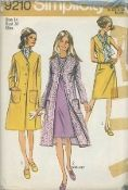 "An original ca. 1970 Simplicity Pattern 9210.  The sleeveless dress with front and back dart interest, back zipper and high round neckline may be worn with a purchased scarf.  The top-stitched, lined coat with front button closing has front dart interest, ""V"" shaped neckline, long set-in sleeves, patch pockets, and back pleat.  V. 1 coat is regular length.  V, 2 coat is mid-length"