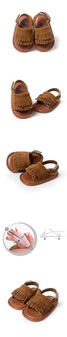 LIVEBOX Infant Baby Girls Moccasins Tassels Premium Soft Rubber Sole Anti-Slip Summer Prewalker Toddler Sandals(S: 0~6 months,Chocolate)