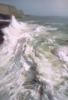 """""""Vast and Hazy Sea,"""" oil painting, by Ruo Li."""
