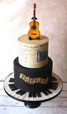 Music themed 70th Birthday cake