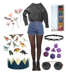 """""""She's a bit weird but we love her"""" by thewitchishere on Polyvore featuring Pretty Polly, American Apparel, Dr. Martens and Dinosaurs"""