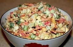 Salad from crab sticks with Korean carrot. Recipes with photos. Top Salad Recipe, Salad Recipes, Snack Recipes, Cooking Recipes, Carrot Recipes, Crab Stick, Russian Recipes, Appetisers, Food Photo