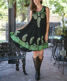 Look at this #zulilyfind! Ananda's Collection Black & Green Paisley Embroidered Shift Dress by Ananda's Collection #zulilyfinds