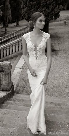 Wholesale 2014 Sheer Vintage Wedding Dresses Lace Beads Mermaid Short Sleeves Wedding Dresses Beach Wedding Dress With V Neckline, Free shipping, $140.2/Piece | DHgate Mobile