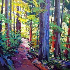Cedar Trail by Randy Hayashi, Acrylic on Canvas, Painting Landscape Quilts, Landscape Art, Landscape Paintings, Canadian Art, Watercolor Paintings, Kiss Painting, Oil Painting Trees, Tree Paintings, Anime Comics