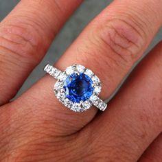 Kentucky blue sapphire and diamond engagement ring