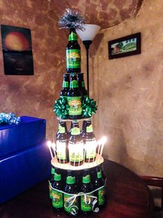 "beer ""cake"" for my boyfriend's birthday!"