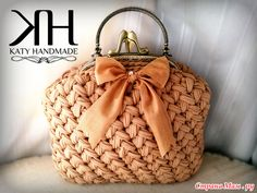 Knitted bags main trend of the season Discussion on LiveInternet - Russian Online Diaries Service Crochet Fabric, Crochet Tote, Fabric Yarn, Crochet Handbags, Crochet Purses, Bead Crochet, How To Make Handbags, Purses And Handbags, Ribbon Yarn
