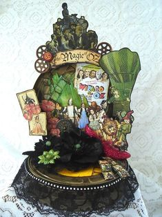 Graphic 45 Magic of Oz home decor- can use those clear craft shoe favors covered in red glitter