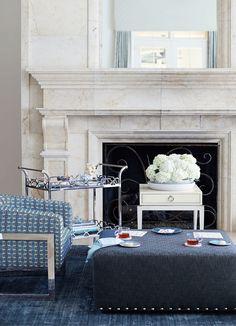 Bernhardt | Callie Chair in geometric woven, Criteria Metal Bar Cart, Hawthorne Ottoman in an indigo woven, Criteria End Table
