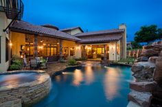 34 Beautiful Mediterranean Pool Design Ideas Look Luxurious - If you want to escape the everyday hassles of life but can't afford to go on a Mediterranean vacation, you could fix up your backyard with a Mediterra. Luxury Swimming Pools, Natural Swimming Pools, Luxury Pools, Dream Pools, Backyard Pool Designs, Swimming Pool Designs, Pool Landscaping, Pool Backyard, Backyard Ideas