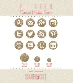 champagne/gold social media icons -- at the bottom of my website i need Facebook, twitter, linkedin, and youtube (preferably in that order) (then i need a separate facebook, twitter, and instagram for sheer sequin snippets)