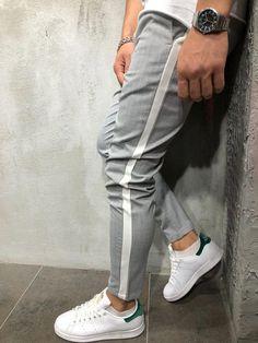 Herringbone is the pattern of fabric men's herringbone ankle pants streetwear side stripes trousers waistband casual slim fit street fashion- product Fashion Night, Suit Fashion, Fashion Hair, Fashion Rings, Fashion Boots, Womens Fashion, Fashion Ideas, Fashion Advice, Fashion Inspiration