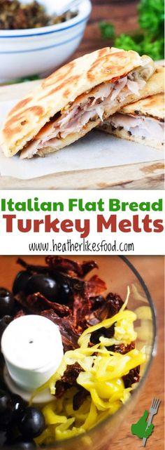 Italian Flat Bread Turkey Melts Recipe, Easy Dinner, Pin Now! Flatbread Sandwiches, Flatbread Recipes, Healthy Sandwiches, Turkey Sandwiches, Deli Sandwiches, Easy Bread Recipes, Quick Dinner Recipes, Cooking Recipes, Healthy Recipes