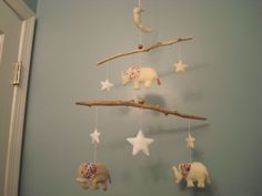 Elephant Moon and Stars Baby Crib Mobile - neutral red purple white. $79.00, via Etsy.