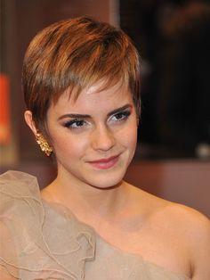Emma Watson. Short hair and still beautiful.