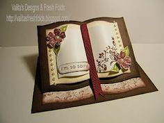 Valita's Designs & Fresh Folds: how to make a Book easel card. She also has a tut for another book card with a lattice design. Card Making Tutorials, Card Making Techniques, Fancy Fold Cards, Folded Cards, Step Cards, Card Book, Interactive Cards, Shaped Cards, Easel Cards