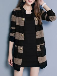 Casual Stripe Knitting Sweater Cardigan Sweaters For Women