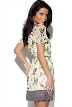 TROPICAL BIRD PRINT DRESS
