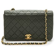 What Goes Around Comes Around Chanel Full Flap Bag - Green ($4,083) ❤ liked on Polyvore featuring bags, handbags, chanel, purses, bolsas, accessories, man bag, vintage handbags, chanel handbags and hand bags