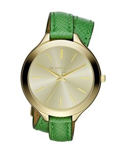 Michael Kors Midsize Slim Snakeembossed Leather Runway Watch in Green (gold/green) | Lyst