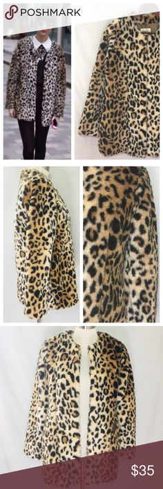 "NWT Forever 21 Animal Leopard Print Faux Fur Coat NWT Forever 21 Boutique Animal Leopard Print Faux Fur Jacket  Sz S New with tags Five hook and eye closure Collarless Full length sleeves Fully lined Measured flat 17.5"" bust 15.5"" shoulders  20"" hips 18""sleeve inseam  Onseam pockets 22% acrylic 78% polyester shell Forever 21 Jackets & Coats"