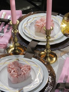 Valentine Day Tablescape - Brown and Pink table with brass accents.  Amber glass.  Party favors are rose shaped soaps from the Dollar Store!