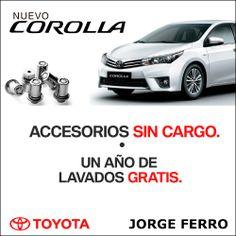 Comprá tu #Toyota Corolla en Jorge Ferro y te regalamos los accesorios y lavados GRATIS por un año! Te esperamos en Av Libertador 6777