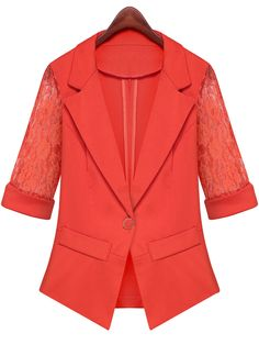 Red Notch Lapel Half Sleeve Lace Blazer - Sheinside.com