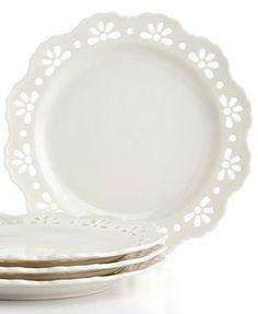 Martha Stewart Collection Whiteware Set of 4 Pierced Dessert Plates