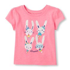 s Toddler Short Sleeve Ice Cream Bunny Graphic Tee - Pink T-Shirt - The Children's Place
