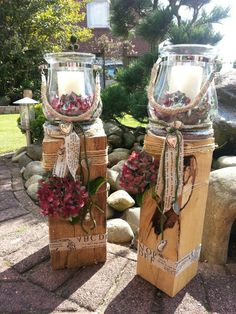 Garden lanterns - All For House İdeas Christmas Wood, Outdoor Christmas, Christmas Crafts, Christmas Centerpieces, Christmas Decorations, Wood Decorations, Autumn Decorations, Fall Decor, Wood Crafts
