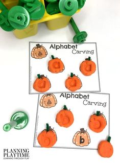 Stamping Alphabet Pumpkins: fun Fall letters activity. - October Morning Tubs