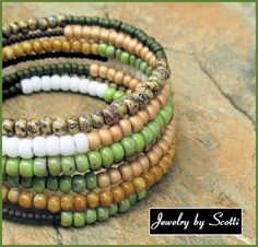 Seven Coil Bracelet // Brown Chartreuse White Olive Tan Gold // Glass Beads // Memory Wire Wrap // SRAJD #handcrafted #jewelry