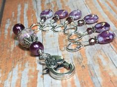 Purple Stitch Marker Holder & Snag Free by JillsHandmadeStuff