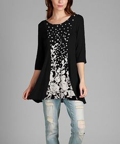Look what I found on #zulily! Black & White Floral Boatneck Tunic - Plus…