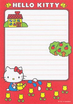 Sanrio Hello Kitty, Hello Kitty My Melody, Cute Stationery, Stationery Paper, Stationary, Hello Kitty Tattoos, Pen Pal Letters, Hello Kitty Birthday