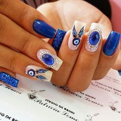 Get The Scoop On Blue Nail Designs Royal Coffin Before You're Too Late 28 Blue Nail Designs, Beautiful Nail Designs, Evil Eye Nails, Dream Catcher Nails, American Nails, Luxury Nails, Best Acrylic Nails, Dream Nails, Rhinestone Nails