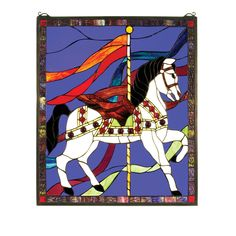 20.5 Inch W X 24 Inch H Carousel Horse Stained Glass Window
