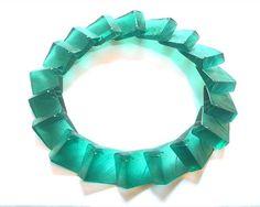 Yoko Shimizu / Green 3D Squares Necklace Resin, pigment, silver