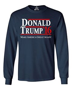 Shop4Ever® Donald Trump 2016 Long Sleeve Shirt Political Shirts Large Navy 0 https://www.safetygearhq.com/product/trending-products/election-day-suits-gadgets/shop4ever-donald-trump-2016-long-sleeve-shirt-political-shirts-large-navy-0/