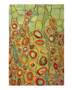 Fiber art inspired by microscopic/cellular imagery.  Artist:  Karen Kamenetzky