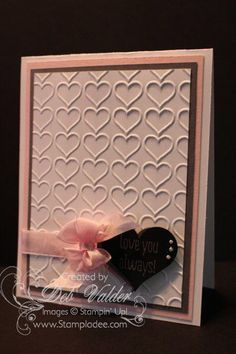 Embossed hearts Valentine's day card