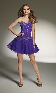 Short Strapless Purple Party Dress by Mori Lee