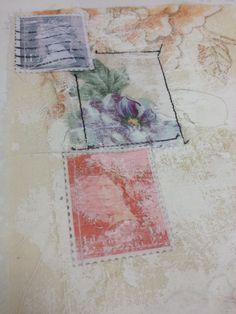 Ashleigh Reid; vintage, 1940's, tea dress, collage, layers, appliqué, stitch, vintage papers, buttons, thread, experiments, mixed media. ALevel textiles
