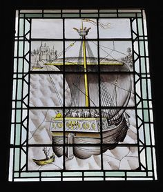 Chambre des Galées - Le Vitrail de la Galée -Le plus ancien (1444) exemple civil conservé en France-Palais Jacques Coeur .Bourges (Cher) - Centre