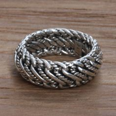 Men's Unique Sterling Silver Band Ring from Bali - Infinity Wave | NOVICA