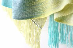 Hand woven long #scarf with gradually changing colors from yellow to green and blue.  My scarves are unique and OOAK as it is almost impossible to make two identical scarves... #kgthreads #accessories #rusteam #homespunsociety #epsteam #360handmade