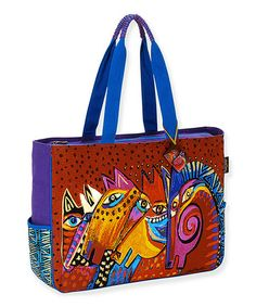 Take a look at this Red & Blue Laughing Mares Large Tote by Laurel Burch on #zulily today! $25 !!